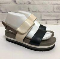 Anyi Lu Sandals Platform Handmade in Italy Size EU 37 Sz 7 Viva Black Cream
