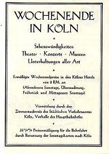 Wochenende in Köln Zimmernachweis Städtisches Verkehrsamt Histor. Annonce1928