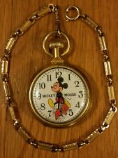 New listing Mickey Mouse Pocket Watch Wind Up Vintage Rare Disney Bradley Running with Chain