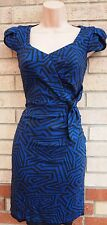 PER UNA BLACK BLUE ABSTRACT RUCHED SIDE TUBE BODYCON FORMAL PENCIL DRESS 8 S