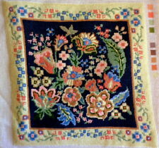 Vtg 1982 Handmade Baroque Floral Needlepoint Pillow Cover Chair Seat Dimensions