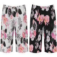 Women's Plus Size Pleated Elasticated Floral Print Culottes Stretch Shorts 14-30