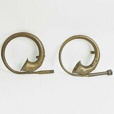 Antique 1920's Brass Car Horn No Rubber Bulbs w Installation Brackets Set of 2