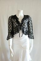 Lace 3/4 Sleeve Bolero Shrug Cropped Cover Up Jacket with Ruffled Hem Womens NEW