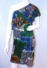 M by MISSONI Italy RUFFLED Top One SHOULDER Iconic DRESS $460 Free Shipping