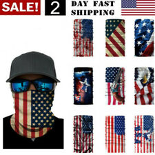 US Seller! Face MASK Washable Bandana Scarf Neck Gaiter Headband- US Flag Styles