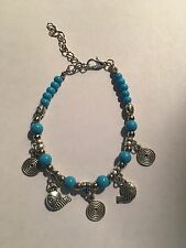 New Tibet silver AND TURQUOISE beadS WITH FISH BRACELET-B410