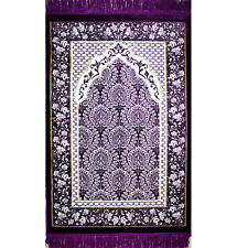 Modefa Turkish Islamic Prayer Rug Plush Velvet Ipek Purple