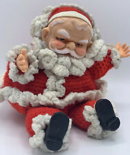 """Vintage Knitted Santa Doll with Rubber / Plastic Face Hands Boots Plush Body 7"""""""