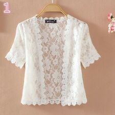 Women Short Sleeve Lace Shrug Bolero Cape Capelet Jacket White Open Cardigan New