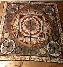 PRELOVED LIZ CLAIBORNE SILK SCARF - EARTH TONES - AZTEC LOOK