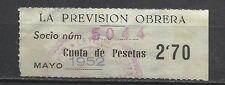 8381-SELLO ESPAÑA CUOTA LA PREVISION OBRERA EN CATALAN Y CASTELLANO 1952