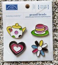 Karen Foster Grand Scrapbook Metal Brads Teacup, Teapot Flower Heart