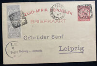 1895 Johannesburg South Africa Stationery Postcard cover To Leipzig Germany
