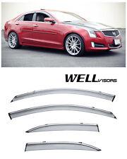 WellVisors Side Window Visors W/ Chrome Trim For 13-UP Cadillac ATS Sedan 4Dr
