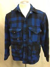 Vtg 1940s/50s Black Bear Blue Black Shadow Plaid Outdoor Hunting Wool Jacket (L)