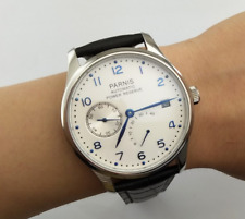 43mm Parnis White Dial Seagull Power Reserve Leather strap Automatic Men's Watch