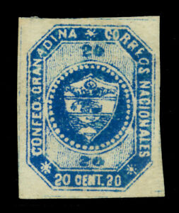 COLOMBIA 1859  Coat of Arms  20c. blue Scott # 6 mint MH XF