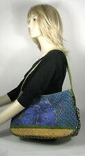 Laurel Burch Purse Canvas Tote Sun Sand Cat Painted Shopper Shoulder Bag Blue