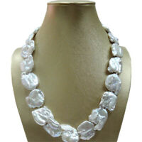 15-25mm Nature Baroque pearl necklace-good quality-925 silver clasp Charm Women