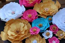 "Set of 20 Paper Flowers 7""-2"" for Décor,Backdrops,Weddings,Showers decoration"