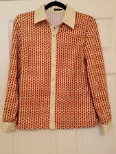 J. McLaughlin Catalina Cloth Long Sleeve Knit Shirt Rope Print SZ M