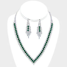 Green diamante necklace set prom rhinestone prom party bridal sparkly bling 550
