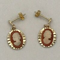 Vintage 9ct 375 Yellow Gold Cameo Dangle Drop Earrings Butterfly Back #316