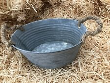 19cm x 12.5cm galvanised ribbed rustic garden tin plant pot with rope handles