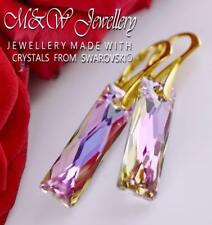 Gold Plated 925 Silver Earrings Crystals From Swarovski® QUEEN BAGUETTE 25mm