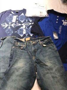New Ralph Lauren 4 piece set: jeans +3 long sleeve tops, polo boys 18-20 XL $175