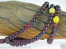 Necklet Rosary Mala Rosewood Bead Chain Nepal Citrine Rosario Bracelet 79C