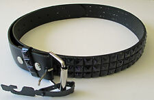 Men's Designer Studded Belt (New L) Black With Blue Lines - Genuine Real Leather