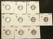 1968 Canada 10 Cents Lot of 10 Uncirculated from Roll Silver #5454