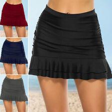 Women Swim Bikini Bottoms Ladies Monokini Beach Ruched Shorts Skirt Swimwear UK
