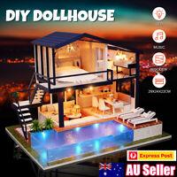 AU DIY LED Music Dollhouse Miniature Wooden Furniture Kits Doll House Xmas Gift