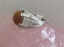TIGER'S EYE SILVER DESIGN RING * SZ 7 * /.925/ Genuine Stone! Golden, Oval WOW