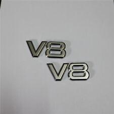 2x V8 Chrome Metal Emblem Sticker Badge Decal Racing 3D Limited Sports Turbo Car