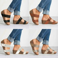 Women Wedge Heel Sandals Slipper Ladies Summer Casual Platform Slider Shoes Size