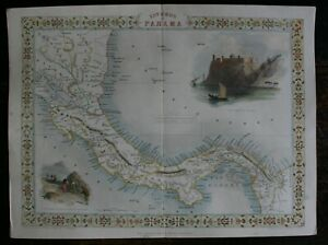 Tallis Map of The Isthmus of Panama hand coloured published 1851