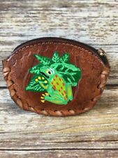 Hand Painted Costa Rica souvenir Leather Coin Purse Frog Tree Toad Zip