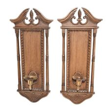 Vintage 1972 Burwood Products Pair of Wall Sconces Decorative Candle holders 356