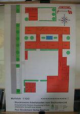 Schulwandbild Wandbild Karte Arbeitskarte Grundriß einer Schule 1:100 80x125cm