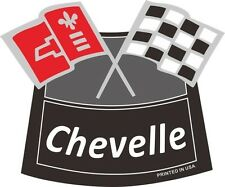 CHEVELLE FLAGS CHROME AIR CLEANER DECAL Chevy Chevrolet Air Cleaner NEW WHITE
