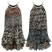GIRLS PEARL NECKLINE ANIMAL PRINT 2 LAYER DRESS KIDS CHIFFON PARTY TOP 3-14 YEAR