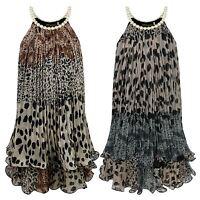 GIRLS PEARL NECKLINE ANIMAL PRINT 2 LAYER DRESS KIDS CHIFFON PARTY TOP 3-14 YEAR