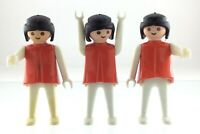 Vintage Geobra 1974 Playmobil Lot of 3 Girl Figures W/ Red Shirt Toys T754