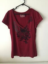 Guess Short Sleeve V neck Maroon Burgundy Top Shirt Size L Large Women Ladies