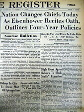 1953 newspaper Republican DWIGHT D EISENHOWER INAUGURATION as PRESIDENT ofTHE US