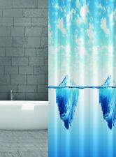 Rideau de douche en tissu ICEBERG BLEU BLANC 120X200 CM 120 large x 200 hauteur